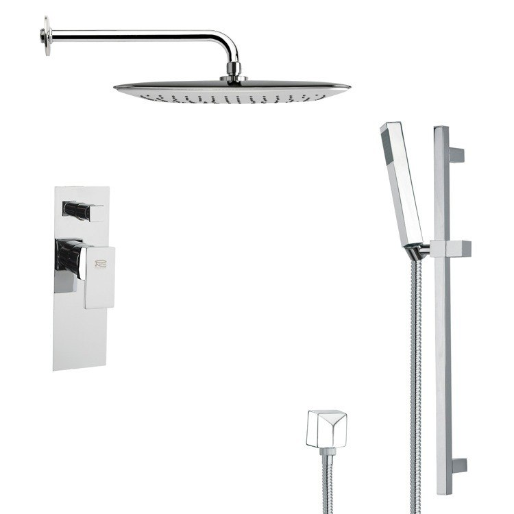 REMER SFR7055 RENDINO MODERN SQUARE SHOWER FAUCET WITH SLIDE RAIL IN CHROME