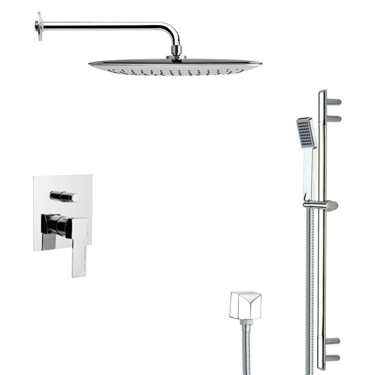 REMER SFR7056 RENDINO MODERN SQUARE CHROME SHOWER FAUCET WITH SLIDE RAIL