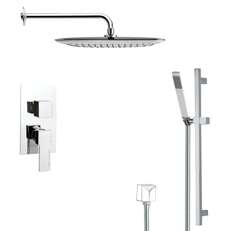 REMER SFR7057 RENDINO MODERN SQUARE SHOWER FAUCET WITH SLIDE RAIL IN CHROME