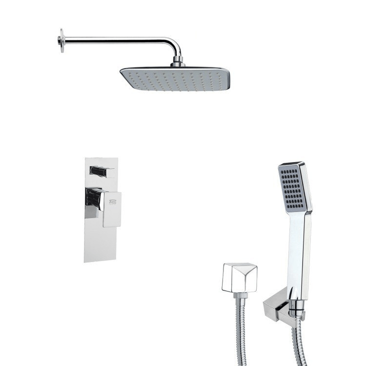 REMER SFH6133 ORSINO SHOWER SYSTEM KIT WITH RAIN SHOWER HEAD AND HAND SHOWER IN CHROME
