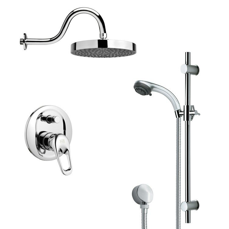 REMER SFR7060 RENDINO ROUND POLISHED CHROME RAIN SHOWER FAUCET WITH HANDHELD SHOWER