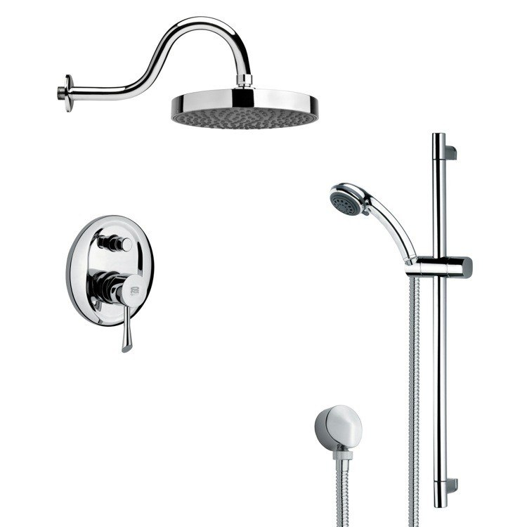REMER SFR7061 RENDINO ROUND POLISHED CHROME RAIN SHOWER FAUCET WITH HANDHELD SHOWER