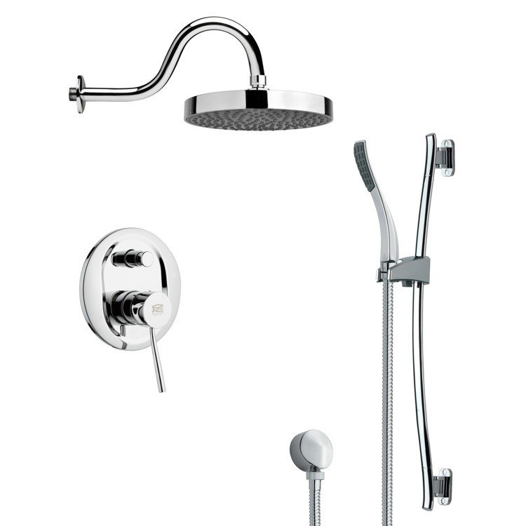 REMER SFR7062 RENDINO ROUND POLISHED CHROME RAIN SHOWER FAUCET WITH HANDHELD SHOWER