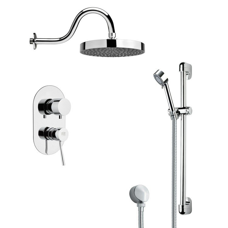 REMER SFR7063 RENDINO ROUND POLISHED CHROME RAIN SHOWER FAUCET WITH HANDHELD SHOWER