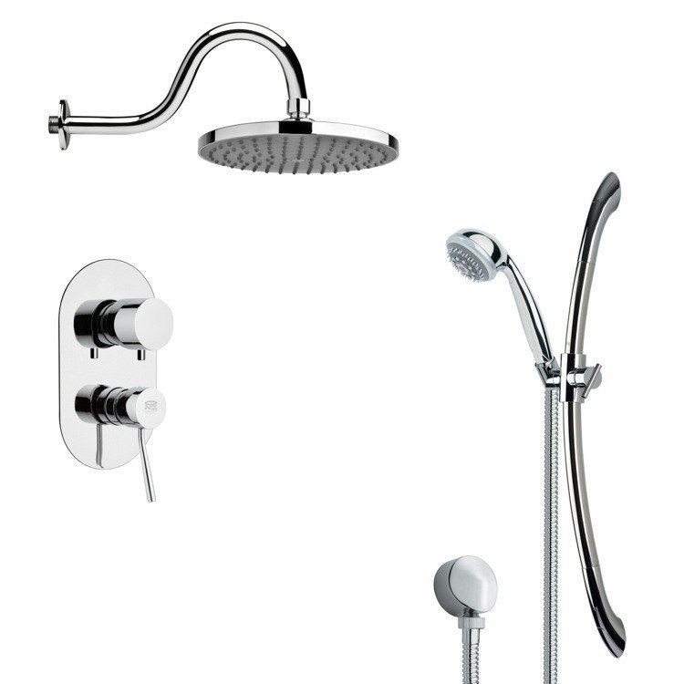 REMER SFR7065 RENDINO ROUND POLISHED CHROME RAIN SHOWER FAUCET WITH SLIDE RAIL