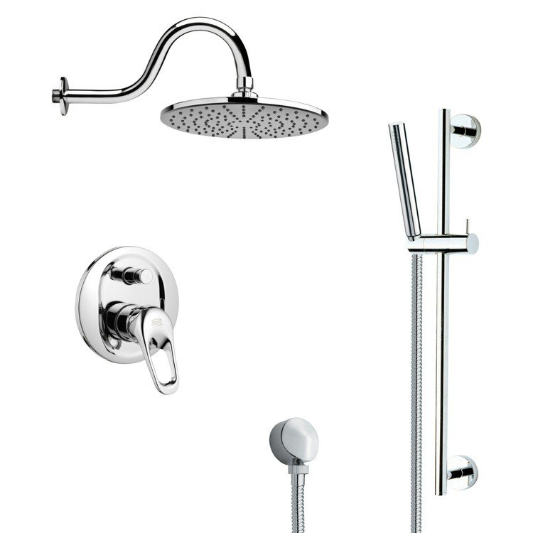 REMER SFR7068 RENDINO ROUND POLISHED CHROME RAIN SHOWER FAUCET WITH SLIDE RAIL