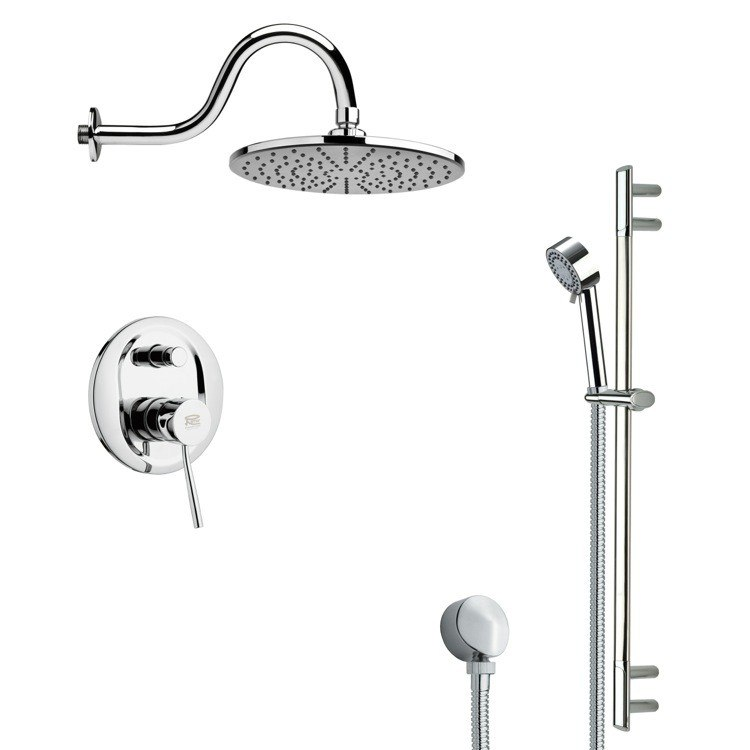 REMER SFR7069 RENDINO ROUND POLISHED CHROME RAIN SHOWER FAUCET WITH SLIDE RAIL
