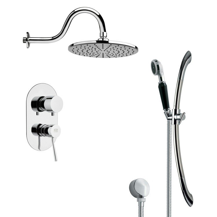 REMER SFR7070 RENDINO ROUND POLISHED CHROME RAIN SHOWER FAUCET WITH SLIDE RAIL