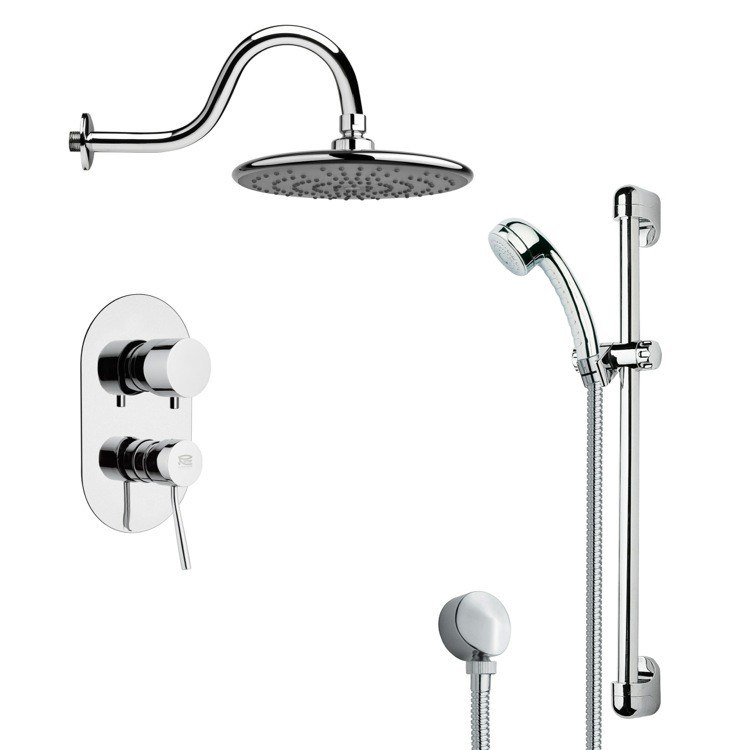 REMER SFR7071 RENDINO ROUND POLISHED CHROME RAIN SHOWER FAUCET WITH SLIDE RAIL
