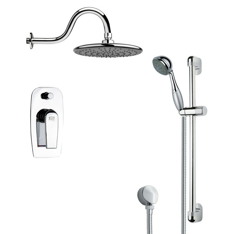 REMER SFR7073 RENDINO SLEEK POLISHED CHROME RAIN SHOWER FAUCET SET
