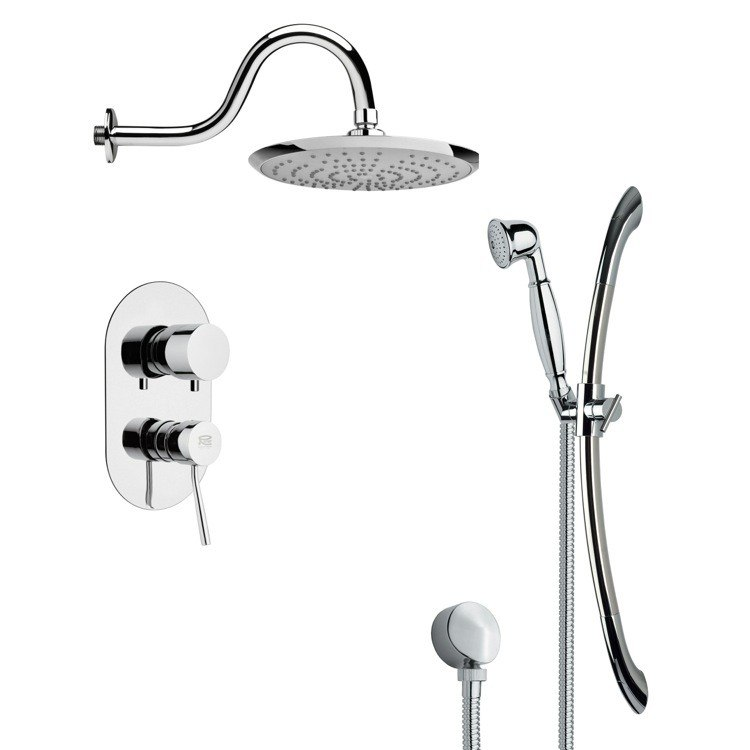 REMER SFR7077 RENDINO SLEEK POLISHED CHROME RAIN SHOWER FAUCET SET