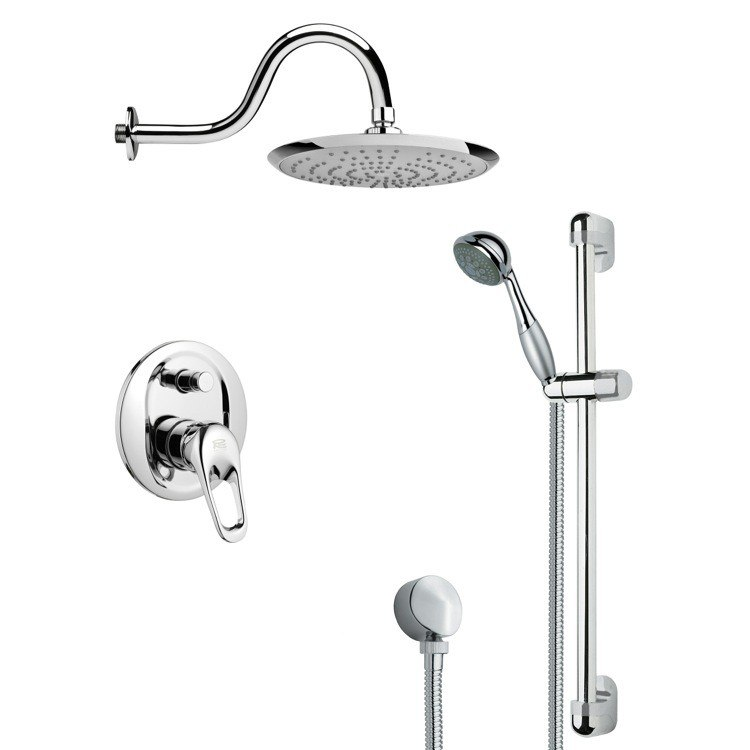 REMER SFR7078 RENDINO SLEEK POLISHED CHROME RAIN SHOWER FAUCET WITH SLIDE RAIL