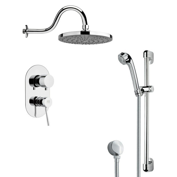 REMER SFR7079 RENDINO SLEEK POLISHED CHROME RAIN SHOWER FAUCET WITH SLIDE RAIL