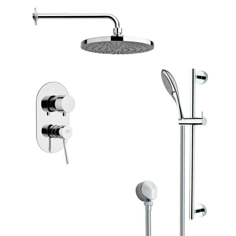 REMER SFR7083 RENDINO SLEEK POLISHED CHROME RAIN SHOWER FAUCET WITH SLIDE RAIL