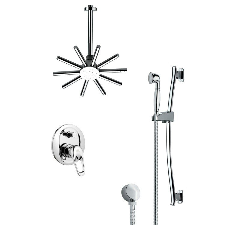 REMER SFR7088 RENDINO SLEEK POLISHED CHROME SHOWER FAUCET SET
