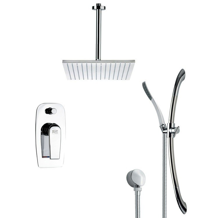 REMER SFR7096 RENDINO CONTEMPORARY SQUARE SHOWER FAUCET SET IN CHROME