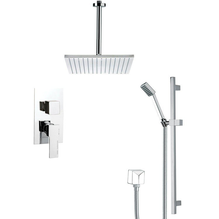 REMER SFR7097 RENDINO CONTEMPORARY SQUARE SHOWER FAUCET SET IN CHROME