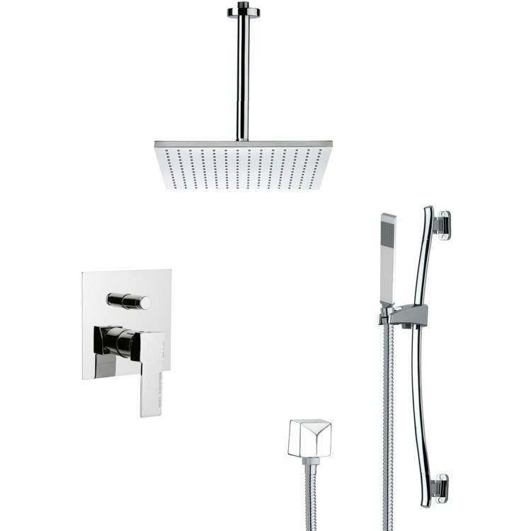 REMER SFR7098 RENDINO CONTEMPORARY SQUARE SHOWER FAUCET SET IN CHROME