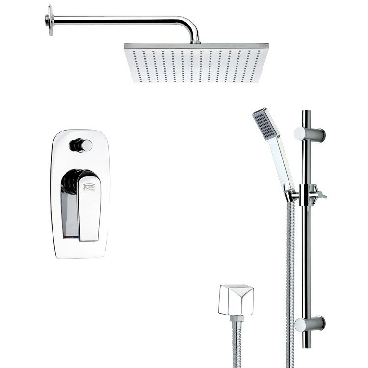 REMER SFR7100 RENDINO CONTEMPORARY SQUARE SHOWER FAUCET SET IN CHROME