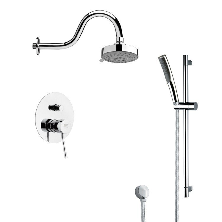 REMER SFR7105 RENDINO SLEEK ROUND SHOWER FAUCET SET IN CHROME
