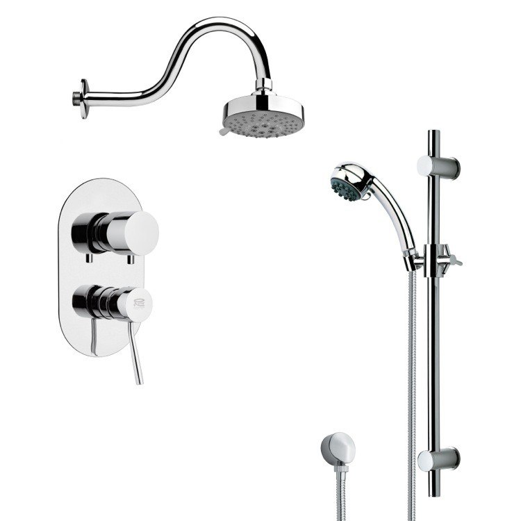 REMER SFR7107 RENDINO SLEEK ROUND SHOWER FAUCET SET IN CHROME