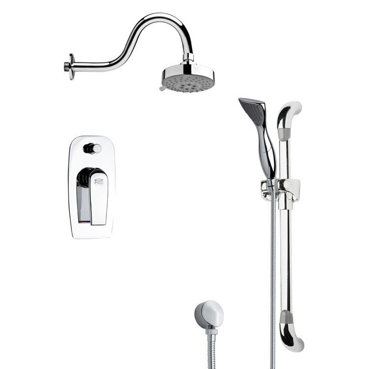 REMER SFR7108 RENDINO SLEEK ROUND SHOWER FAUCET SET IN CHROME