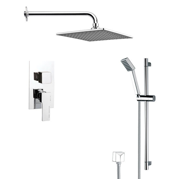 REMER SFR7109 RENDINO CONTEMPORARY SQUARE SHOWER FAUCET WITH HAND SHOWER IN CHROME