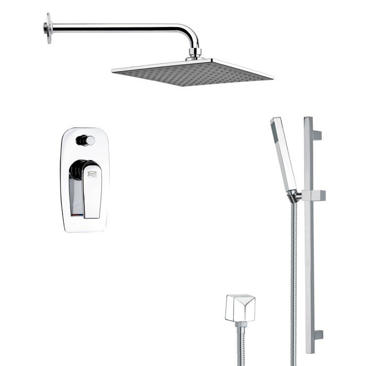 REMER SFR7110 RENDINO CONTEMPORARY SQUARE SHOWER FAUCET WITH HAND SHOWER IN CHROME