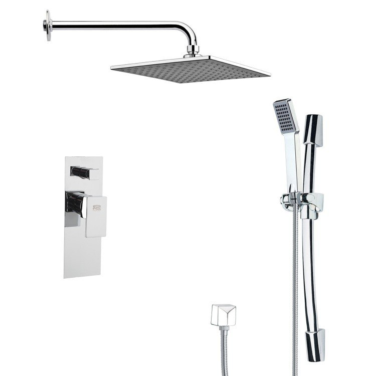 REMER SFR7111 RENDINO CONTEMPORARY SQUARE SHOWER FAUCET WITH HAND SHOWER IN CHROME