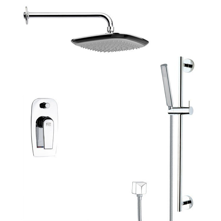 REMER SFR7113 RENDINO CONTEMPORARY SQUARE SHOWER FAUCET WITH HAND SHOWER IN CHROME