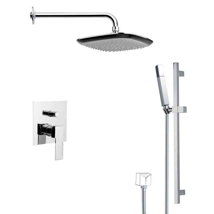 REMER SFR7114 RENDINO CONTEMPORARY SQUARE SHOWER FAUCET WITH HAND SHOWER IN CHROME
