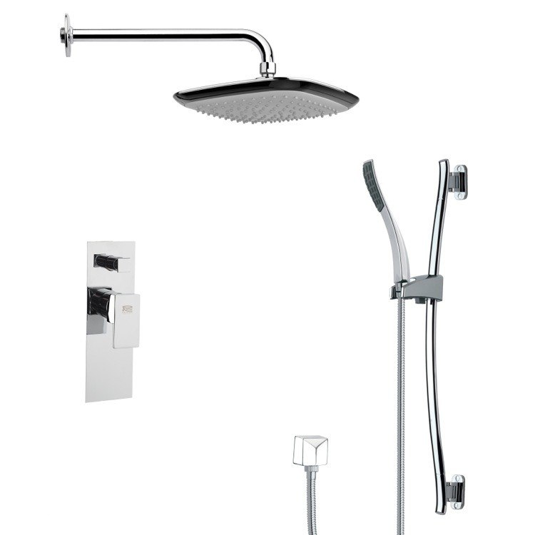 REMER SFR7115 RENDINO CONTEMPORARY SQUARE SHOWER FAUCET WITH SLIDE RAIL IN CHROME