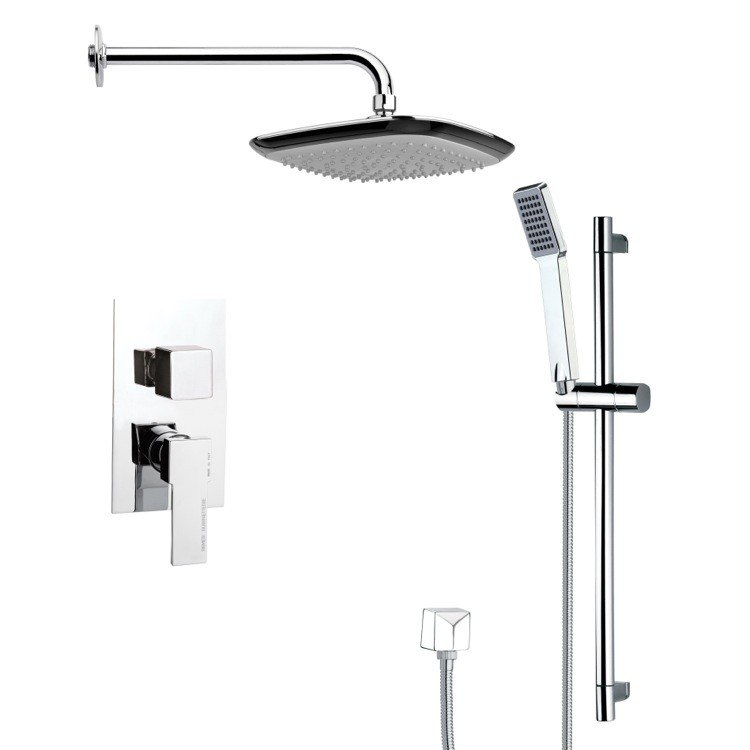 REMER SFR7116 RENDINO CONTEMPORARY SQUARE SHOWER FAUCET WITH SLIDE RAIL IN CHROME