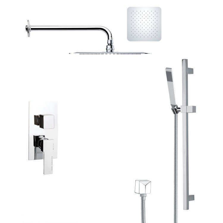 REMER SFR7117 RENDINO CONTEMPORARY SQUARE SHOWER FAUCET WITH SLIDE RAIL IN CHROME
