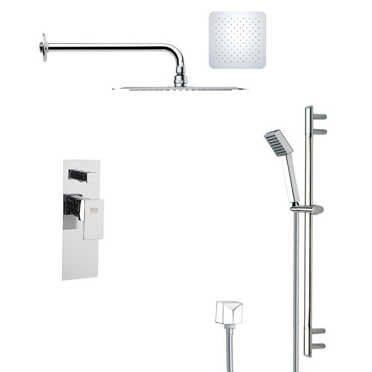 REMER SFR7118 RENDINO CONTEMPORARY SQUARE SHOWER FAUCET WITH SLIDE RAIL IN CHROME