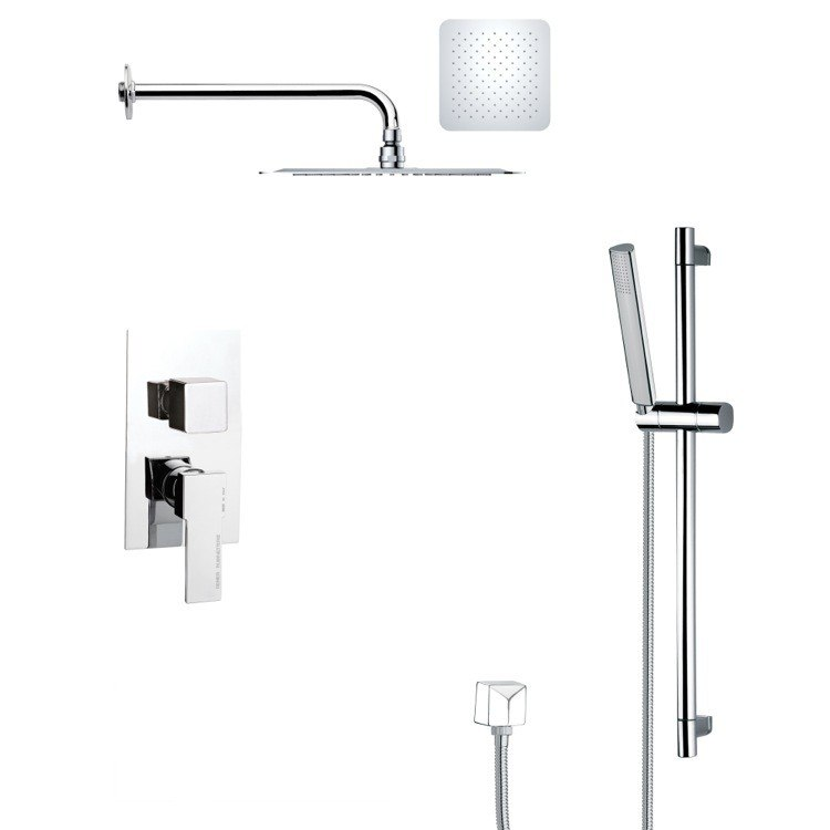 REMER SFR7119 RENDINO CONTEMPORARY SQUARE SHOWER FAUCET WITH SLIDE RAIL IN CHROME