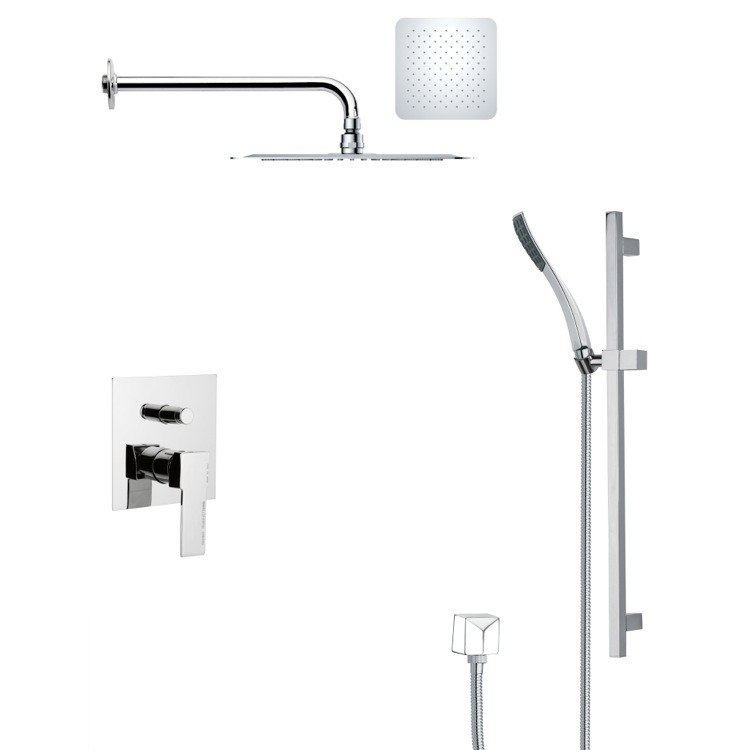 REMER SFR7120 RENDINO CONTEMPORARY SQUARE SHOWER FAUCET WITH SLIDE RAIL IN CHROME