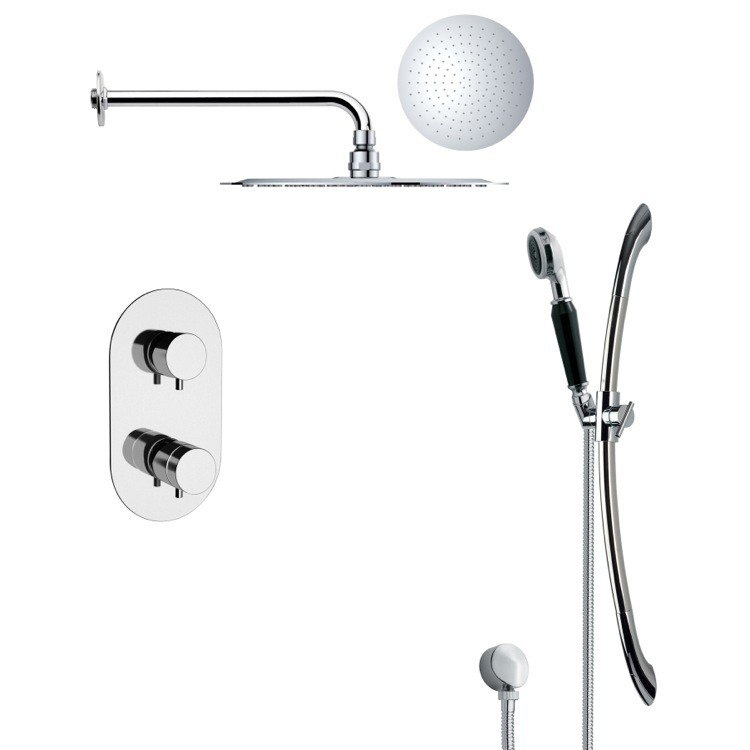 REMER SFR7121 RENDINO MODERN ROUND CHROME RAIN SHOWER FAUCET SET