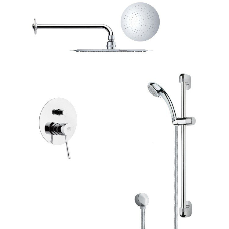 REMER SFR7123 RENDINO MODERN ROUND CHROME RAIN SHOWER FAUCET SET