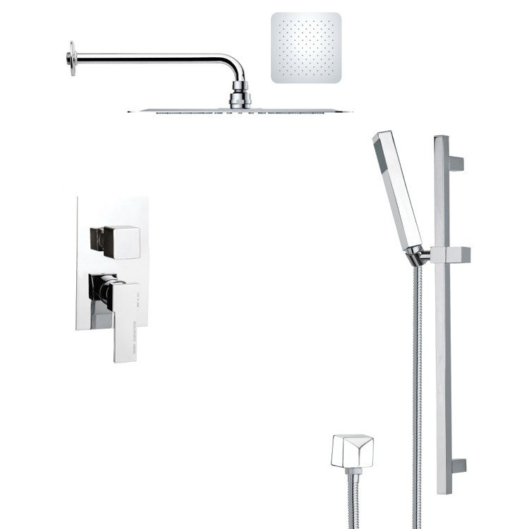 REMER SFR7125 RENDINO MODERN SQUARE CHROME SHOWER FAUCET SET