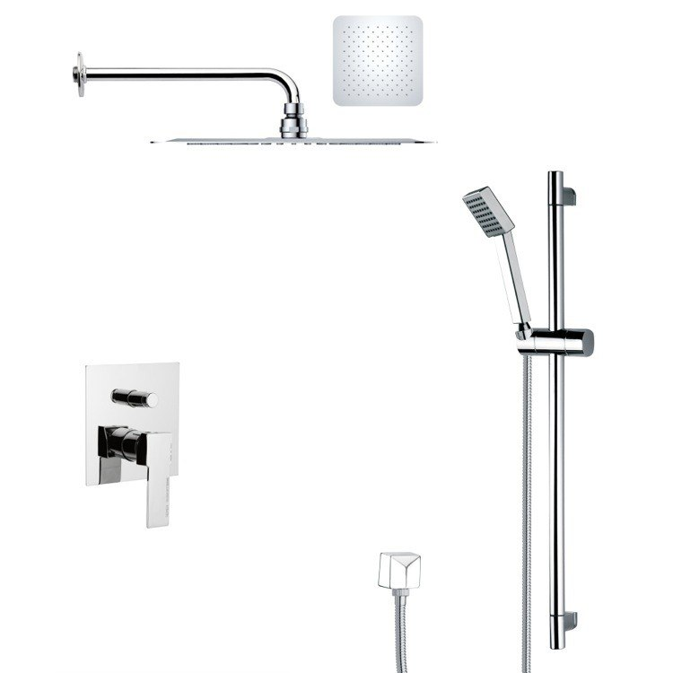 REMER SFR7126 RENDINO MODERN SQUARE CHROME SHOWER FAUCET SET