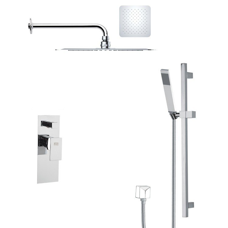 REMER SFR7127 RENDINO MODERN SQUARE CHROME SHOWER FAUCET SET