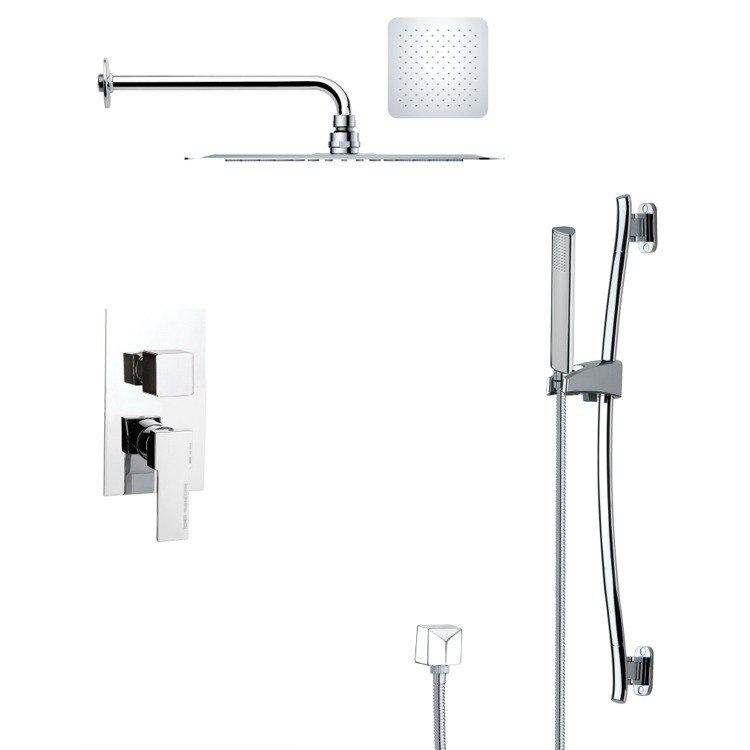 REMER SFR7128 RENDINO MODERN SQUARE CHROME SHOWER FAUCET SET