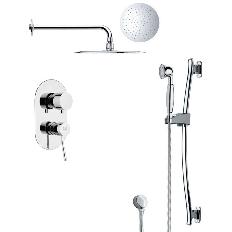 REMER SFR7129 RENDINO MODERN ROUND CHROME RAIN SHOWER FAUCET WITH SLIDE RAIL