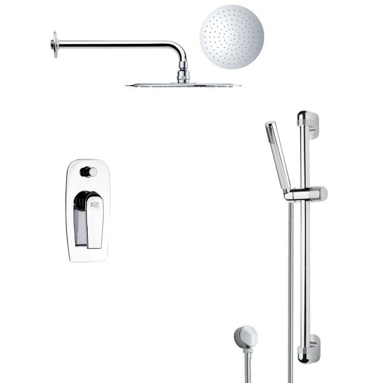 REMER SFR7131 RENDINO MODERN ROUND CHROME RAIN SHOWER FAUCET WITH SLIDE RAIL