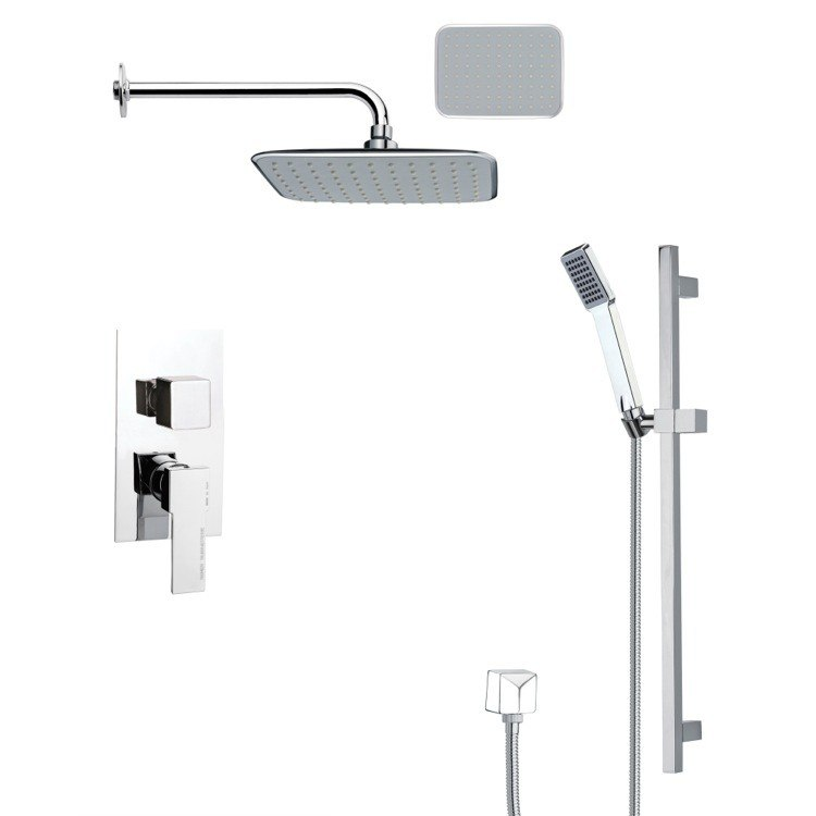 REMER SFR7133 RENDINO MODERN SQUARE CHROME RAIN SHOWER FAUCET WITH SLIDE RAIL
