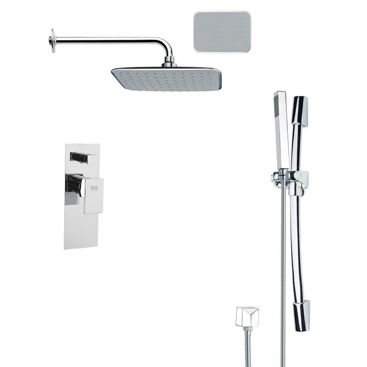 REMER SFR7134 RENDINO MODERN SQUARE CHROME RAIN SHOWER FAUCET WITH SLIDE RAIL
