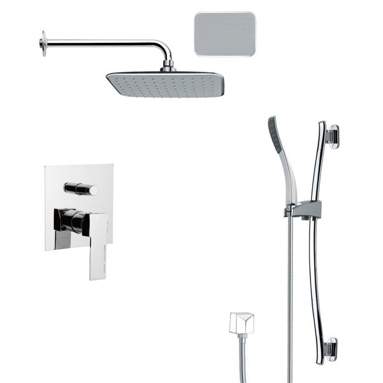 REMER SFR7136 RENDINO MODERN SQUARE CHROME RAIN SHOWER FAUCET WITH SLIDE RAIL