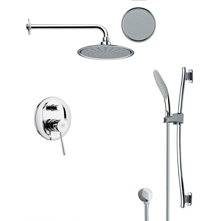 REMER SFR7138 RENDINO ROUND SLEEK RAIN SHOWER FAUCET SET IN CHROME