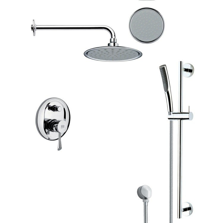 REMER SFR7139 RENDINO ROUND SLEEK RAIN SHOWER FAUCET SET IN CHROME